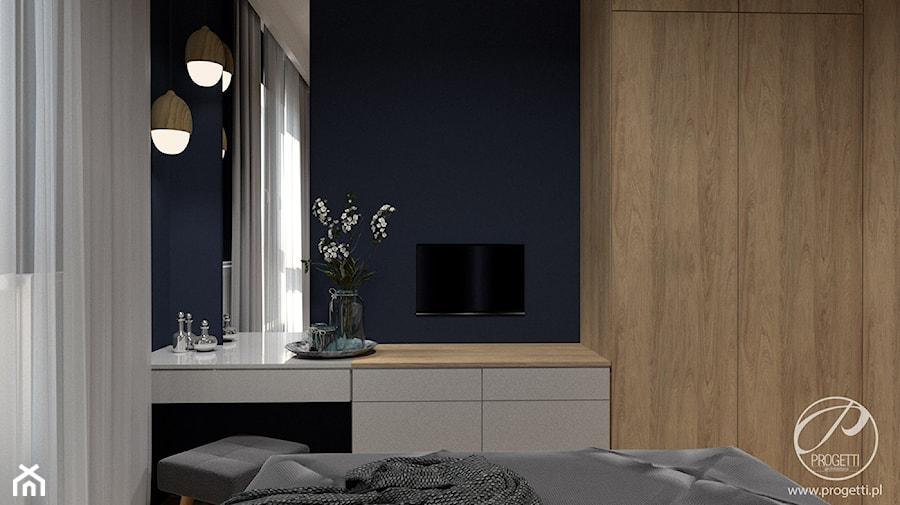 Apartament przy Jana Kazimierza - Mała niebieska sypialnia małżeńska, styl nowoczesny - zdjęcie od Progetti Architektura