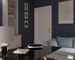 Artystyczny Żoliborz w stylu nowojorskim - Średnie niebieskie biuro domowe kącik do pracy w pokoju, styl nowojorski - zdjęcie od Progetti Architektura