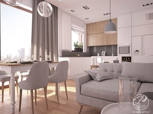 Apartamenty Marymont - Średnia otwarta biała szara kuchnia w kształcie litery l w aneksie z oknem, styl nowoczesny - zdjęcie od Progetti Architektura