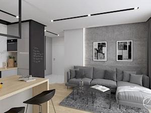 Apartament Bluszczańska - Średni biały czarny salon z kuchnią z jadalnią, styl nowoczesny - zdjęcie od Progetti Architektura