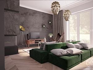Dom jednorodzinny - Średni szary salon, styl nowoczesny - zdjęcie od Progetti Architektura
