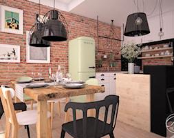 Apartament przy Forcie Bema - Średnia otwarta brązowa jadalnia w kuchni, styl industrialny - zdjęcie od Progetti Architektura