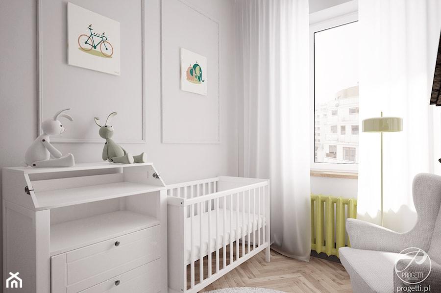Mieszkanie w klimatycznej kamienicy - Mały szary pokój dziecka dla chłopca dla dziewczynki dla niemowlaka, styl nowoczesny - zdjęcie od Progetti Architektura