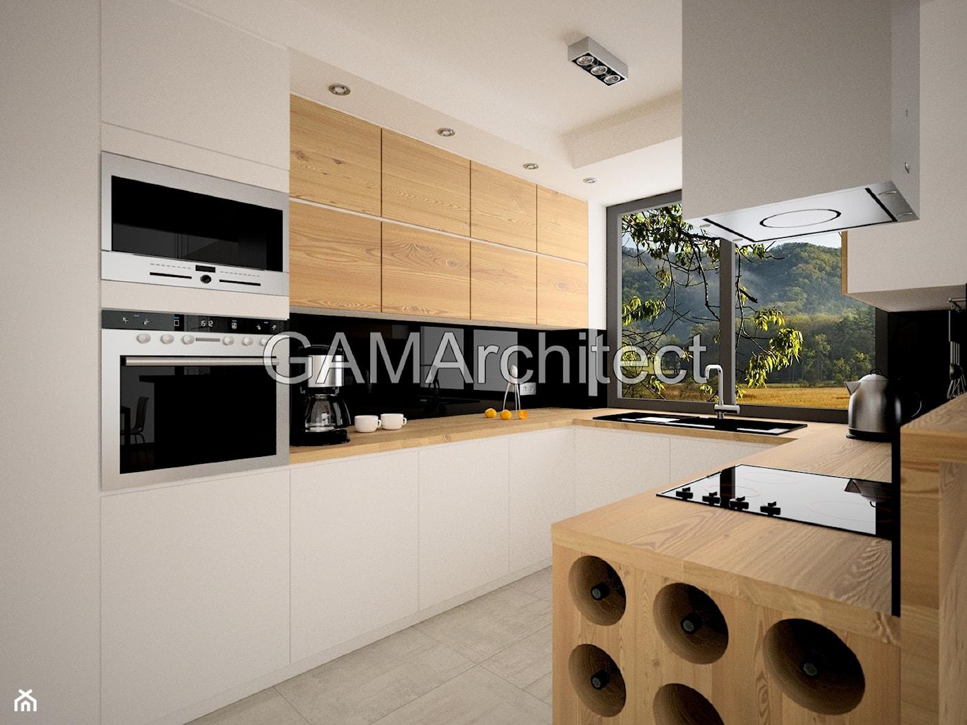 Średnia zamknięta biała czarna kuchnia w kształcie litery u, styl nowoczesny - zdjęcie od GAMArchitect - Homebook