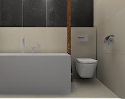 łazienka z ukrytym schowkiem - Mała beżowa czarna łazienka na poddaszu w bloku w domu jednorodzinnym ... - zdjęcie od BAMARI Studio Architektury Wnętrz - Homebook