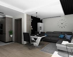 Salon z fornirem kamiennym i lamelami - zdjęcie od BAMARI Studio Architektury Wnętrz - Homebook