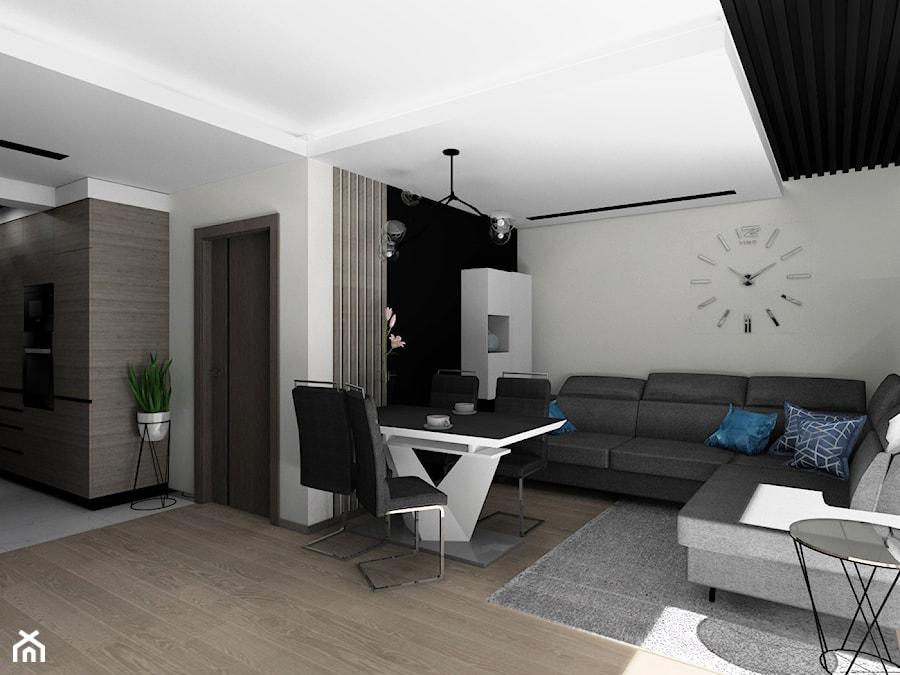Salon z fornirem kamiennym i lamelami - zdjęcie od BAMARI Studio Architektury Wnętrz