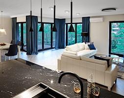 Apartament Angel River - Średni biały salon z kuchnią z jadalnią, styl art deco - zdjęcie od Pracownia architektoniczna meridian - Homebook
