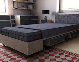 Pokój nastolatka - Mały szary pokój dziecka dla chłopca dla dziewczynki dla nastolatka, styl industrialny - zdjęcie od ROARHIDE Industrial Designs