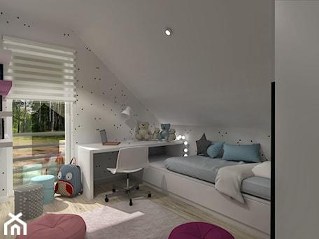 Subtelna Nuta_Opole - Mały biały szary pokój dziecka dla chłopca dla dziewczynki dla ucznia dla malucha dla nastolatka - zdjęcie od INFORMA Pracownia Architektury Wnętrz