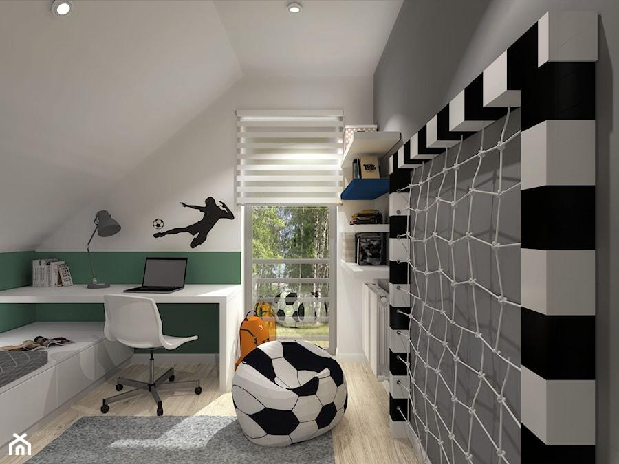 Subtelna Nuta_Opole - Mały szary zielony pokój dziecka dla chłopca dla dziewczynki dla ucznia dla malucha dla nastolatka - zdjęcie od INFORMA Pracownia Architektury Wnętrz