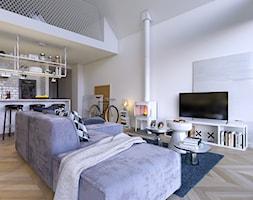 Z POMYSŁEM 1 - Imponujące przeszklenia - Średni biały salon z kuchnią z jadalnią z antresolą, styl skandynawski - zdjęcie od DOMY Z WIZJĄ - nowoczesne projekty domów