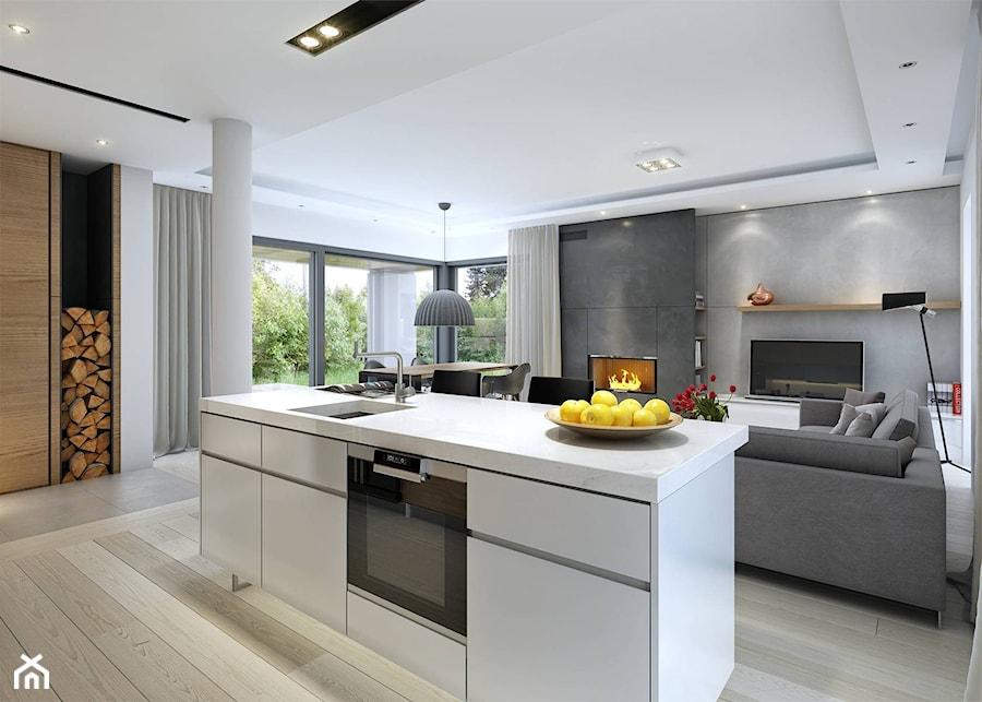 DOBRY 1  niewielki dom parterowy z garażem  Otwarta kuchnia z wyspą, styl s   -> Kuchnia Letnia Z Garażem
