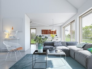 EKONOMICZNY 2B - dom z antresolą - Średni biały salon, styl minimalistyczny - zdjęcie od DOMY Z WIZJĄ - nowoczesne projekty domów