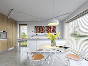 EKONOMICZNY 2B - dom z antresolą - Średnia biała jadalnia w kuchni, styl skandynawski - zdjęcie od DOMY Z WIZJĄ - nowoczesne projekty domów