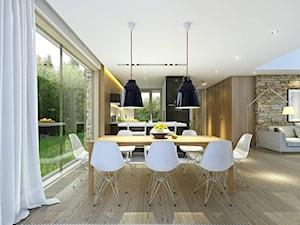 RODZINNY 1 - dom parterowy z dachem dwuspadowym - Średnia otwarta jadalnia w salonie, styl minimalistyczny - zdjęcie od DOMY Z WIZJĄ - nowoczesne projekty domów