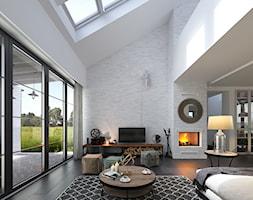 RODZINNY 4 - NOWOCZESNA STODOŁA - Duży biały salon, styl skandynawski - zdjęcie od DOMY Z WIZJĄ - nowoczesne projekty domów