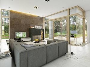 PARTEROWY 1 - nowoczesny dom parterowy z płaskim dachem - Duży biały brązowy salon z tarasem / balkonem, styl nowoczesny - zdjęcie od DOMY Z WIZJĄ - nowoczesne projekty domów