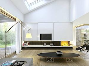 RODZINNY 1 - dom parterowy z dachem dwuspadowym - Duży biały salon z tarasem / balkonem, styl skandynawski - zdjęcie od DOMY Z WIZJĄ - nowoczesne projekty domów