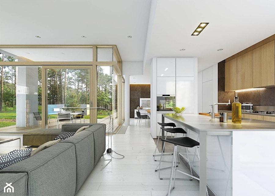 PARTEROWY 1 - nowoczesny dom parterowy z płaskim dachem - Duża otwarta biała brązowa kuchnia dwurzędowa z wyspą, styl nowoczesny - zdjęcie od DOMY Z WIZJĄ - nowoczesne projekty domów