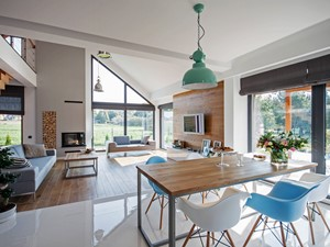 DOSKONAŁY 3 - realizacja projektu - Średnia otwarta biała jadalnia w kuchni, styl skandynawski - zdjęcie od DOMY Z WIZJĄ - nowoczesne projekty domów
