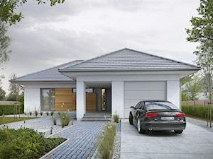 DOBRY 1 - niewielki dom parterowy z garażem - Średnie parterowe nowoczesne domy jednorodzinne murowane z czterospadowym dachem, styl nowoczesny - zdjęcie od DOMY Z WIZJĄ - nowoczesne projekty domów