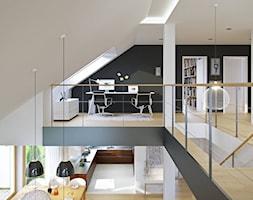 DOSKONAŁY 3 - atrakcyjny projekt dla 4-osobowej rodziny - Małe czarne białe biuro kącik do pracy na poddaszu, styl minimalistyczny - zdjęcie od DOMY Z WIZJĄ - nowoczesne projekty domów