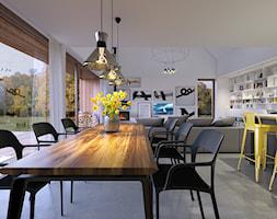 ODWAŻNY 2 - TRADYCYJNA BRYŁA Z NOWOCZESNYM DETALEM - Duża otwarta biała jadalnia w kuchni w salonie, styl nowoczesny - zdjęcie od DOMY Z WIZJĄ - nowoczesne projekty domów