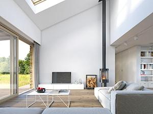 """RODZINNY 3 - nowoczesna """"stodoła"""" - Duży biały salon z jadalnią, styl nowoczesny - zdjęcie od DOMY Z WIZJĄ - nowoczesne projekty domów"""
