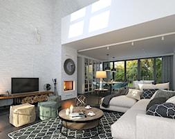 RODZINNY 4 - NOWOCZESNA STODOŁA - Średni szary biały salon z jadalnią, styl nowoczesny - zdjęcie od DOMY Z WIZJĄ - nowoczesne projekty domów