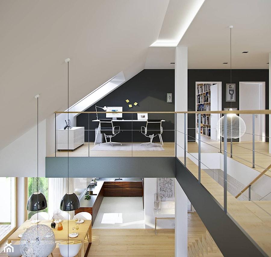 DOSKONAŁY 1 - kompaktowy dom z dwuspadowym dachem - Małe czerwone biuro kącik do pracy na poddaszu, styl minimalistyczny - zdjęcie od DOMY Z WIZJĄ - nowoczesne projekty domów