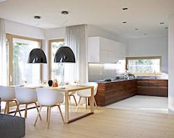DOSKONAŁY 3 - atrakcyjny projekt dla 4-osobowej rodziny - Duża otwarta biała jadalnia w salonie, styl skandynawski - zdjęcie od DOMY Z WIZJĄ - nowoczesne projekty domów
