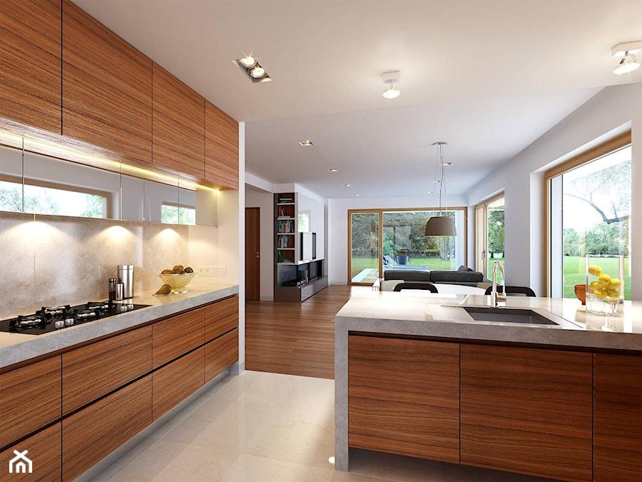 WYGODNY 1  niewielki dom z poddaszem użytkowym  Średnia otwarta kuchnia w k   -> Kuchnia Letnia Z Garażem
