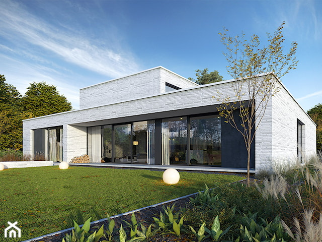 DOM Z PATIO 1 - reprezentacyjny dom parterowy z płaskim dachem