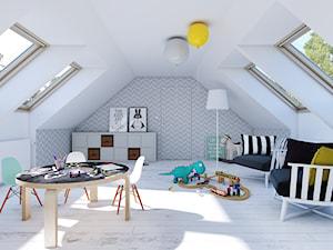 EKONOMICZNY 2B - dom z antresolą - Duży biały szary pokój dziecka dla chłopca dla malucha, styl skandynawski - zdjęcie od DOMY Z WIZJĄ - nowoczesne projekty domów