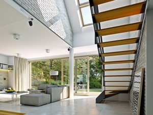 ATRAKCYJNY 1 - projekt z elewacją klinkierową - Duży biały szary hol / przedpokój, styl nowoczesny - zdjęcie od DOMY Z WIZJĄ - nowoczesne projekty domów