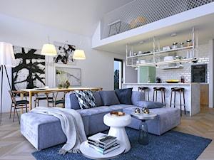 Z POMYSŁEM 1 - Imponujące przeszklenia - Mały szary salon z kuchnią z jadalnią, styl nowoczesny - zdjęcie od DOMY Z WIZJĄ - nowoczesne projekty domów