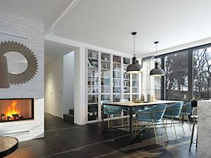 RODZINNY 4 - NOWOCZESNA STODOŁA - Duża otwarta biała jadalnia w salonie, styl skandynawski - zdjęcie od DOMY Z WIZJĄ - nowoczesne projekty domów