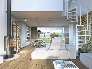 RODZINNY 2 - projekt domu z antresolą - Średni biały salon z kuchnią z jadalnią z tarasem / balkonem, styl minimalistyczny - zdjęcie od DOMY Z WIZJĄ - nowoczesne projekty domów