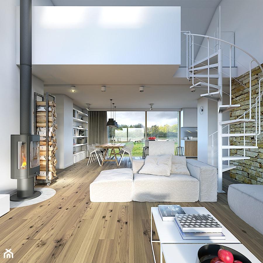 RODZINNY 2 - projekt domu z antresolą - Średni salon z kuchnią z jadalnią z tarasem / balkonem ...