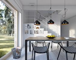 DOSTĘPNY 4A - niewielki dom z nowoczesnymi akcentami - Średnia otwarta biała jadalnia jako osobne pomieszczenie, styl skandynawski - zdjęcie od DOMY Z WIZJĄ - nowoczesne projekty domów