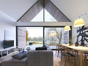 Z POMYSŁEM 1 - Imponujące przeszklenia - Mały biały salon z jadalnią z tarasem / balkonem, styl skandynawski - zdjęcie od DOMY Z WIZJĄ - nowoczesne projekty domów