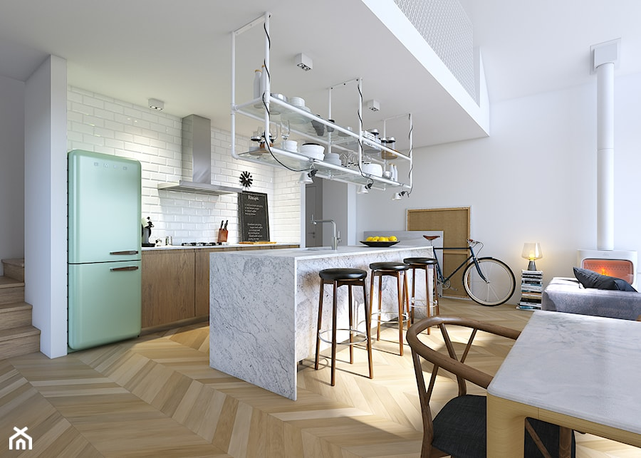 Z POMYSŁEM 1 - Imponujące przeszklenia - Średnia biała kuchnia dwurzędowa w aneksie z wyspą, styl skandynawski - zdjęcie od DOMY Z WIZJĄ - nowoczesne projekty domów
