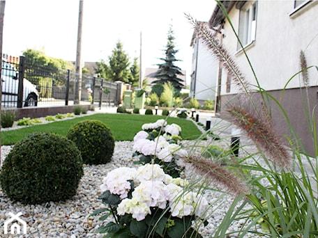 Aranżacje wnętrz - Ogród: Elegancki ogród przed domem - Średni ogród przed domem, styl klasyczny - Duo Design. Przeglądaj, dodawaj i zapisuj najlepsze zdjęcia, pomysły i inspiracje designerskie. W bazie mamy już prawie milion fotografii!