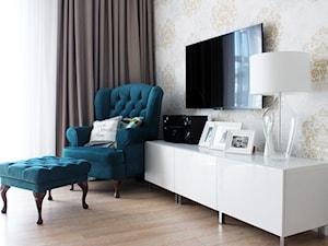 Realizacja projektu - mieszkanie 55 m - Średni beżowy salon, styl eklektyczny - zdjęcie od Duo Design