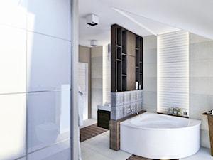 Szeregowiec Mikołów - Średnia biała łazienka na poddaszu w domu jednorodzinnym, styl nowoczesny - zdjęcie od INTUS DeSiGn