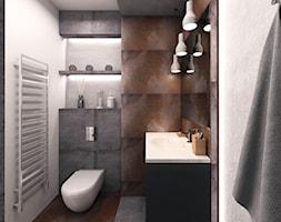 Kraków - Mała biała czarna brązowa łazienka na poddaszu w bloku w domu jednorodzinnym bez okna, styl minimalistyczny - zdjęcie od INTUS DeSiGn