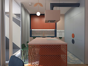 Mieszkanie 2+1, 80m2 - Średnia zamknięta biała beżowa kuchnia w kształcie litery l z wyspą z oknem, styl nowoczesny - zdjęcie od A+A