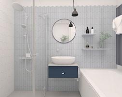 Mieszkanie 2, 84m2 - Mała biała łazienka na poddaszu w bloku w domu jednorodzinnym bez okna, styl skandynawski - zdjęcie od A+A