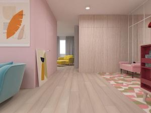 Mieszkanie 100m2 - Duży biały różowy hol / przedpokój, styl nowoczesny - zdjęcie od A+A